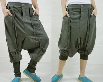 Unisex Ninja Harem Funky Stretch Cotton Mix Polyester Dark Army Green Pants With 2 Pockets