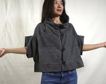 Patched Dark Heather Grey Brushed Cotton Mix Polyester Stand Collar Drop Shoulder Cape Poncho Cloak Batwing Vest Jacket Blouse