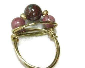 Jasper WireWrap Ring, Stone Bead Gold Ring, Bead Wrapped Ring