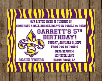 LSU Birthday Invitation for Kids, Louisiana State University Football Baseball Party Geaux Tigers Invite, 5x7 - Digital File for print DIY