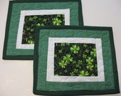 St. Patrick's Day Mug Rugs or Personal Mug Mats Quilted Set of 2