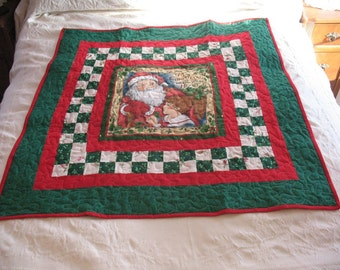 Quilted Christmas Victorian Santa With Boy Lap Quilt