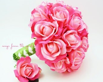Bridal Bouquet Real Touch Roses Hot Pink Green Wedding Bouquet Real Touch Silk Flower Wedding Choose Your Colors
