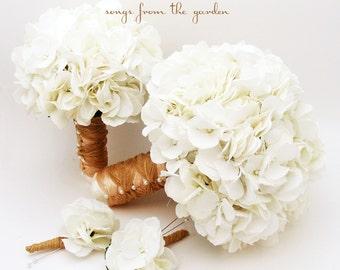 White Silk Hydrangea Bridal & Bridesmaid Bouquet  Groom's Best Man Boutonniere - Silk Flower Wedding Package - Choose Your Colors