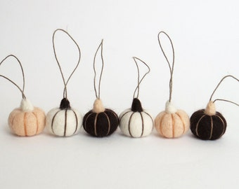 Felted miniature Pumpkin ornament - needle felt pumpkins (vanilla, white, dark brown) set of 6