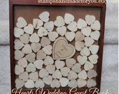 drop guestbook wedding guest book and Unique Heart Guestbook - 140 hearts  -  Shadow Box Included