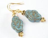 Powder Blue Gold Earrings, Middle Eastern, Ornate Blue Earrings, Blue and Gold, Blue Grey Earrings, Something Blue - Damietta Dangles