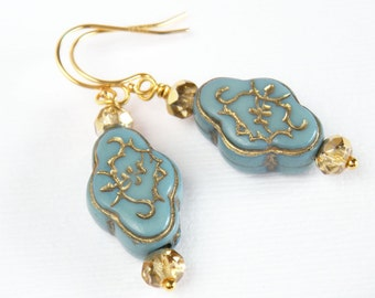 Gold Earrings, Powder Blue Earrings, Middle Eastern, Ornate Blue Earrings, Blue and Gold, Blue Earrings, Something Blue - Damietta Dangles