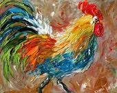 Fine art print from oil painting by Karen Tarlton  Bad Barnyard Bird ROOSTER modern impressionism art