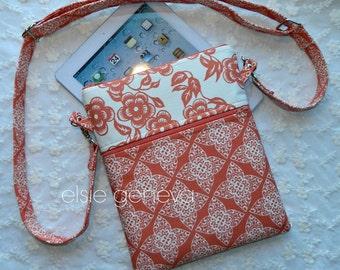Coral iPad Purse Sleeve Case Orange Peach Lace & Floral  Cross Body Shoulder Strap Ready to Ship Mini iPad Laptop Device