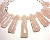 Rose Quartz Pink Cleopatra Fan Necklace with Sterling Silver