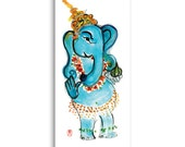 Ganesh Hindu Deity Card - Elephant Ganesha Postcard & Envelope from original painting, Free Shipping, yoga art, inspirational zen art card