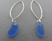 Sea Glass BLUE Dangle Earrings, Sea Glass Jewelry, Sterling Silver, Drop Earrings, Beach Wedding, Gift for Her