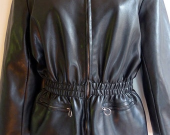 SALE Junior Gaultier faux leather jacket with plaid lining