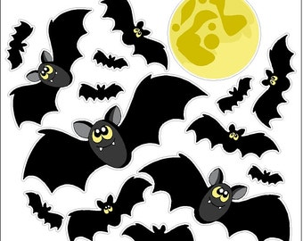 Cartoon Bats And Moon Static Cling Halloween Window Decals Removable and Reusable Halloween Clings
