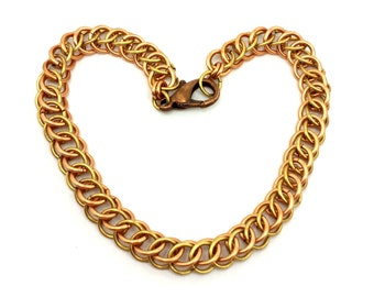 Brass and Copper Half Persian Chainmaille Weave Bracelet OOAK