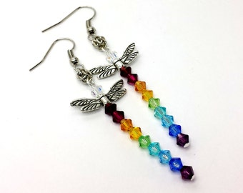 Swarovski Crystal Rainbow Crystal Dragonfly Earrings with Sweetpea Chainmaille Weave Custom Made to Order
