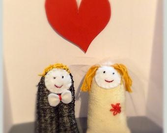 Love story- handwoven dolls, wedding cake topper