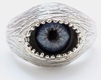 Human evil-eye ring in blue, solid sterling silver type 2  (Made in NYC)
