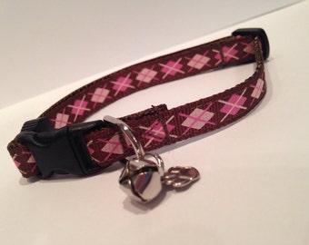 Brown and pink argyle cat collar
