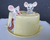 Vintage Covered Cheese Saver Plate Server with Mice