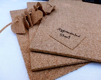 """Thick agglomerated cork sheets (three), made from cork grains for your craft projects, 6mm / 0.24"""" thickness, sheets 20cmx30cm, 10""""x11.8"""""""