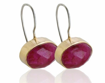 Ruby earrings Gold oval faceted stone, silver hook
