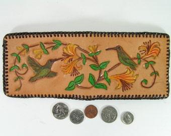 western tooled leather wallet hummingbirds floral honeysuckle handmade cowboy billfold cowgirl