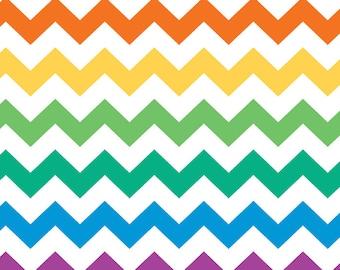 Rainbow Colored Chevron - medium - 1/2 yard