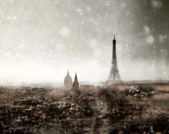 Eiffel Tower Print, Photograph of Paris Skyline, Black, Gold, Silver, Dreamy, Gray, Paris Decor