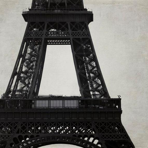 Eiffel Tower Decor, Architecture, Paris Print, Black, Beige, Eiffel Tower Print, Paris Office Decor