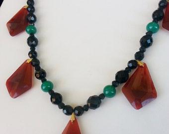 Vintage Victorian handmade Necklace Glass Czechoslovakian beads