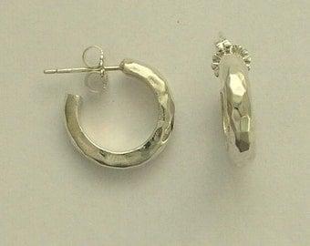 Sterling silver earrings, hammered earrings, hoop earrings, simple earrings, casual earrings, everyday earrings - Through Hoops -E0270H