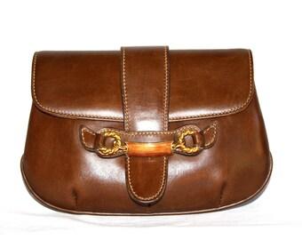 GUCCI Vintage Clutch Handbag Brown Leather Enamel Horsebit - AUTHENTIC -