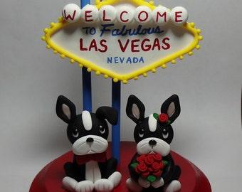 Boston Terrier Las Vegas Wedding Cake Topper