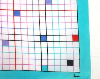 Vera Neumann cotton scarf from the 1960s. Plaid, linear, geometric, squares, aqua, lilac, red, white, Op Art.