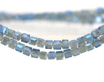 Cube Crystal Glass Faceted beads 3mm Montana Blue - FZ0310/ 95pcs