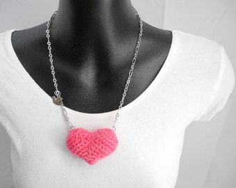 Pink Plush Heart Necklace