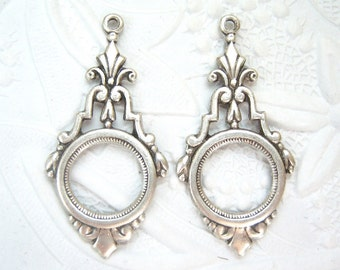 Antique silver plated Art Deco drop, lot of (2) - GH136
