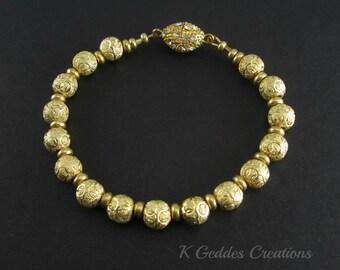 Gold Beaded Bracelet Ornate Bead Bracelet Gold Statement Bracelet Bali Gold Rhinestone Magnetic Clasp Gold Luxury Bracelet SALE