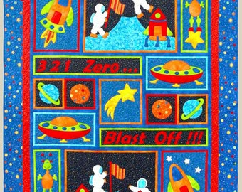 Blast off quilt pattern appliqu pieced quilt sewing for Outer space quilt patterns