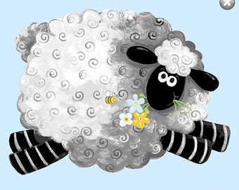 "LEWE the Sheep ~ 100% Cotton Fabric Panel ~ Lewe the Ewe Sheep PLAY MAT  ~ 35"" x 43""  Susybee Fabrics sb20200-710"