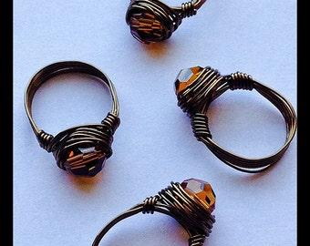 Bronze Wire Wrapped Ring With Swarovski Topaz Crystal, Handmade Wire Wrapped Ring, Wrapped Wire Ring, Smoky Topaz Ring, Bronze Ring