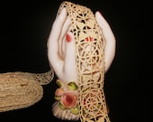 "Art Deco Era Antique Edwardian Lace Trim Edging Beige Sewing Supplies 1 1/8"" NOS"