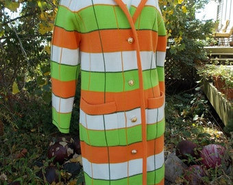 Vintage 1960s 1970s Orange Lime Green White sweater coat