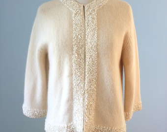 1960s sweater / 60s beaded cardigan / Hark Imports Cardigan