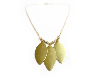 Simple Leaf Necklace, Gold Marquise Necklace, Minimalist Jewelry