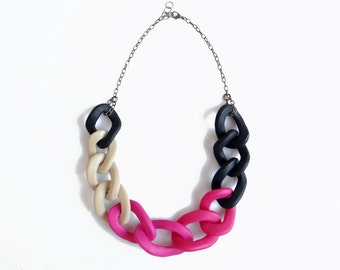 Chain Statement Necklace, Pink Black Oversized Chain Link Necklace, Polymer Clay Necklace