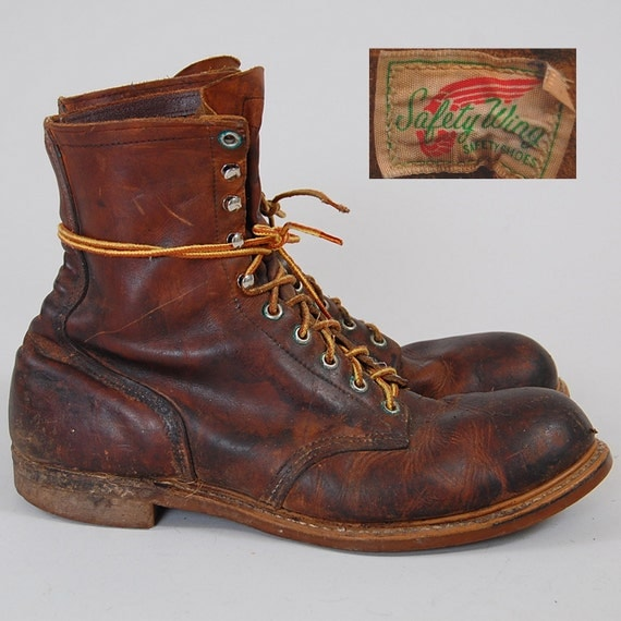 RARE Vintage 50s 60s Red Wing SAFETY WING work boots / Steel