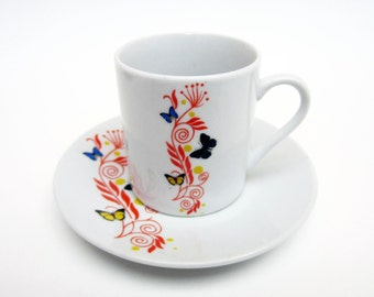 China COFFEE CUP set⎮flowers butterflies decor⎮French vintage⎮red yellow blue⎮set of 6